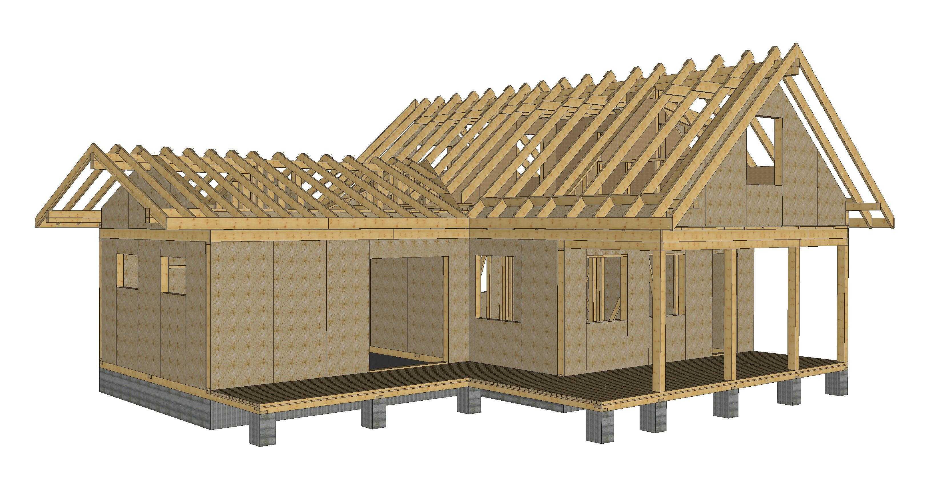Рис 1 3d модель деревянного каркасного